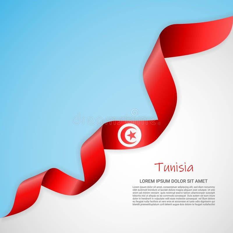 在白色的传染媒介横幅和蓝色和与突尼斯的旗子的挥动的丝带 海报设计的模板,小册子 向量例证