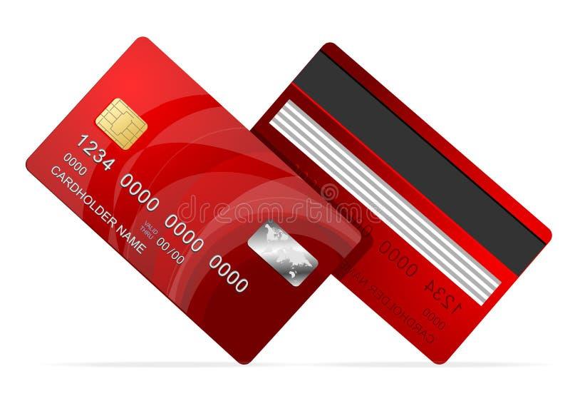 在白色的传染媒介信用卡红色象 库存例证