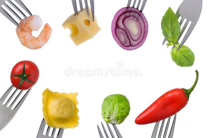 在白色的健康食物边界 免版税库存照片
