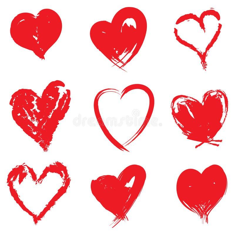 在白色的刷子冲程红色心脏 皇族释放例证