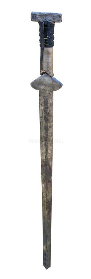 在白色的北欧海盗剑 免版税库存照片