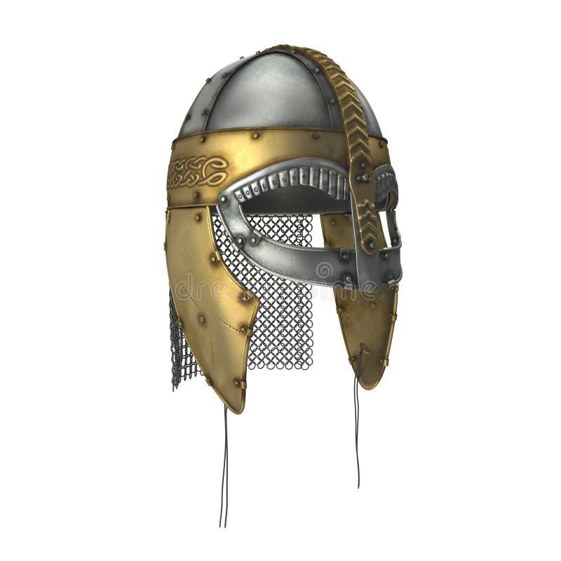 在白色的北欧海盗盔甲 3d例证 皇族释放例证