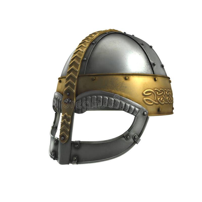 在白色的北欧海盗盔甲 3d例证 向量例证