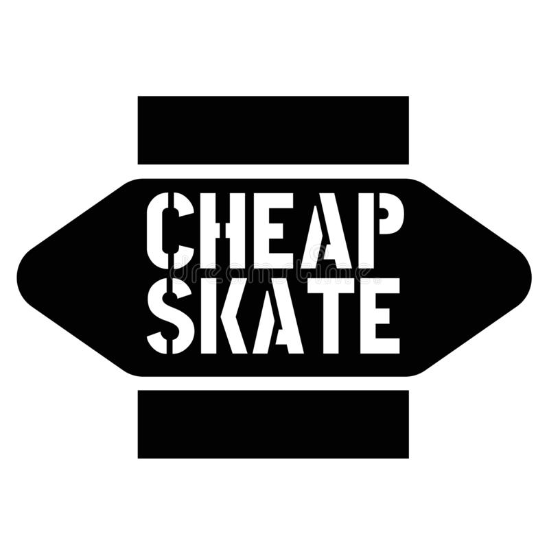 在白色的印刷品便宜的冰鞋邮票 库存例证