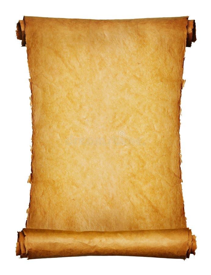 在白色的古老查出的原稿 免版税库存图片