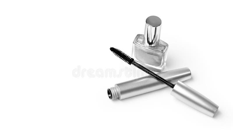 在白色的各种各样的化妆用品 库存图片