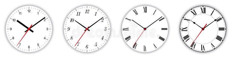 在白色的四个不同时钟表盘 库存例证