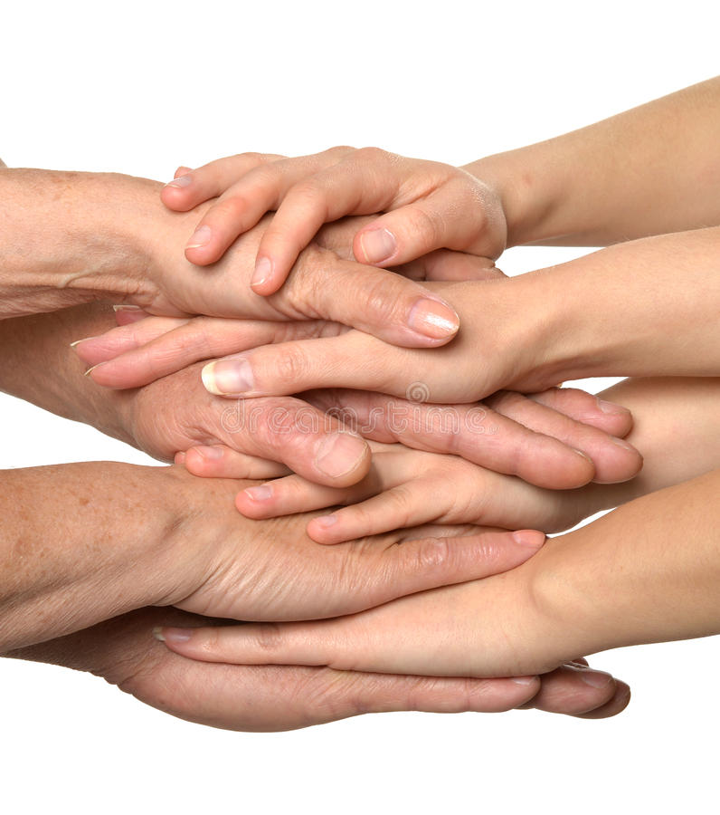 在白色的团结的手 免版税图库摄影