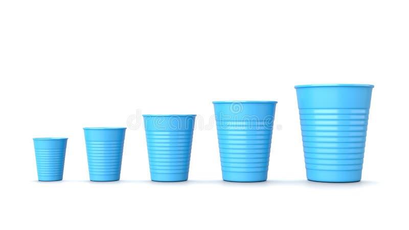 在白色的增长的大小蓝色塑料杯 皇族释放例证