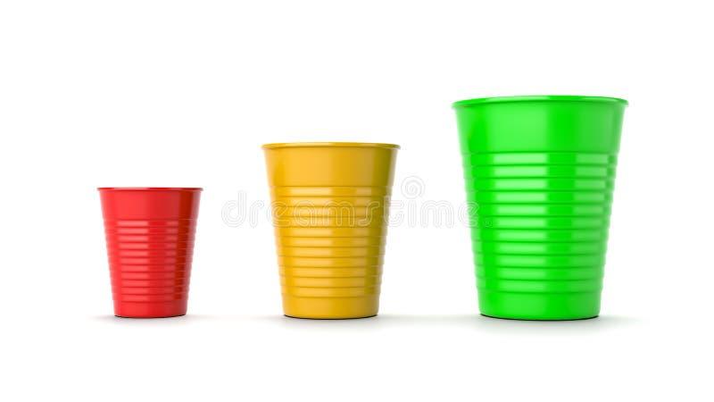 在白色的增长的大小,红色,黄色和绿色塑料杯 库存例证