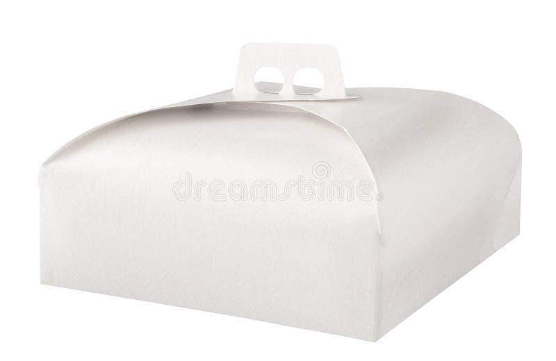 在白色的外带的蛋糕盒 免版税库存照片