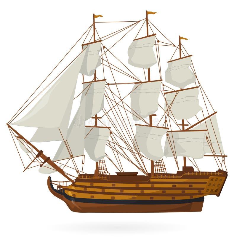在白色的大老木历史帆船galleon 使用风帆,帆柱,棕色甲板,枪 向量例证