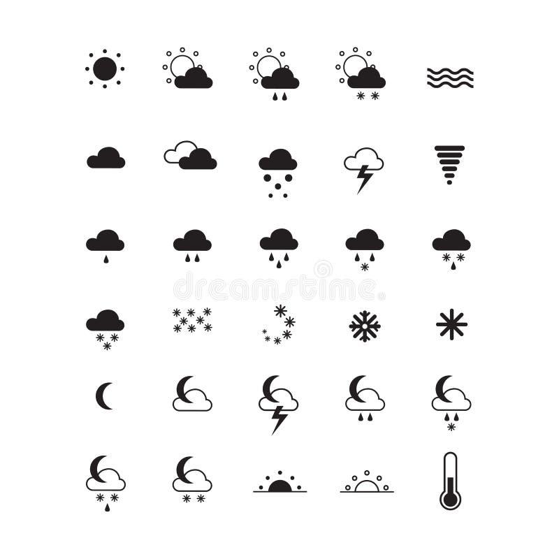 在白色的天气象 集合符号 向量例证