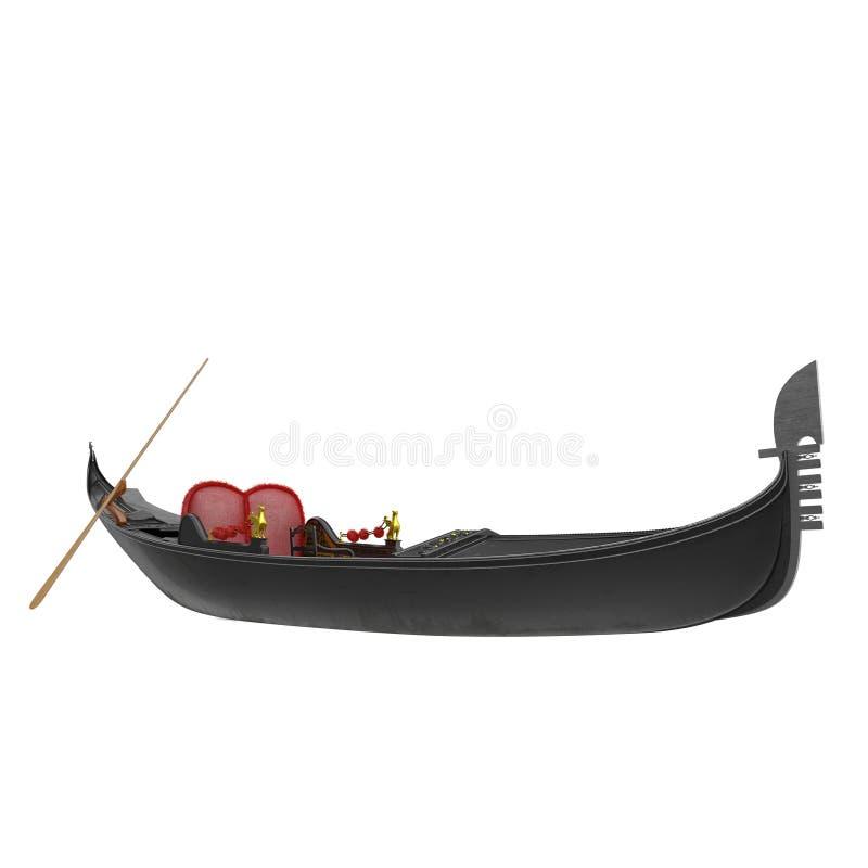 在白色的威尼斯豪华长平底船小船 3d例证 皇族释放例证