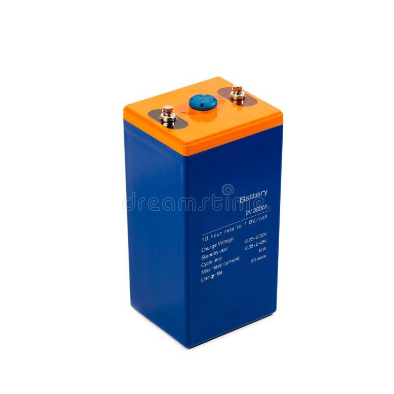 在白色的工业乙酸铅电池 免版税库存照片