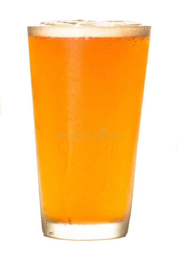 在白色的工艺啤酒 免版税库存照片