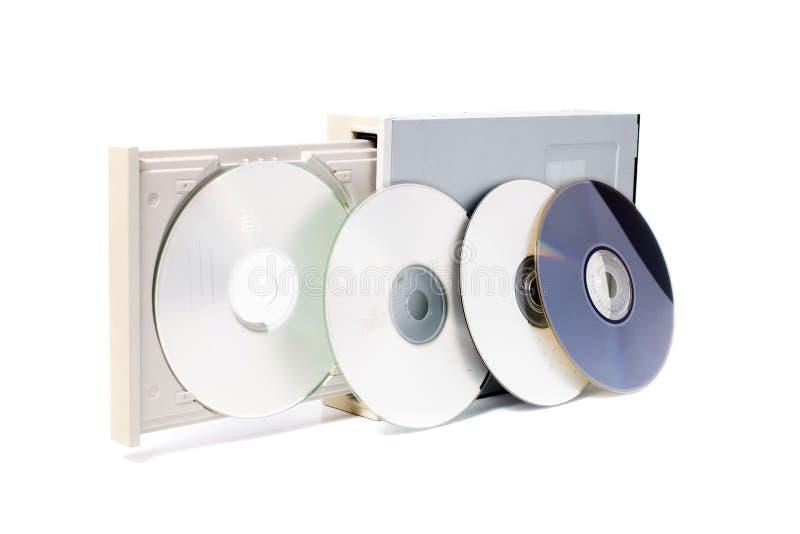 在白色的开放dvd rom 免版税库存照片