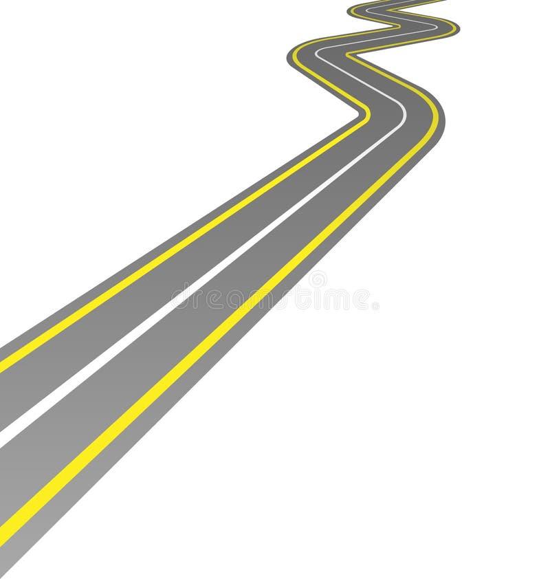 在白色的弯曲的路 库存例证