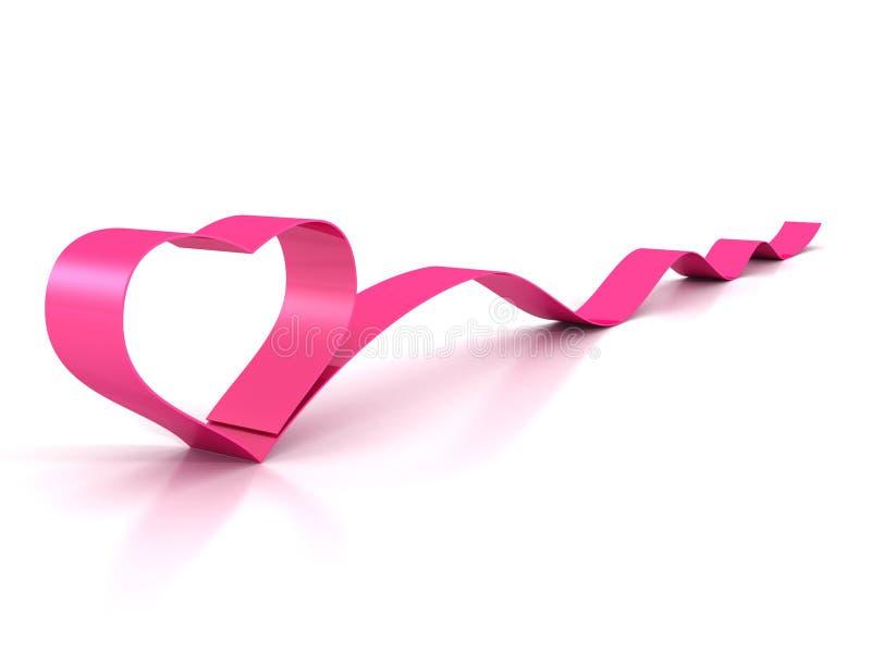 在白色的情人节桃红色缎光滑的丝带心脏 库存例证