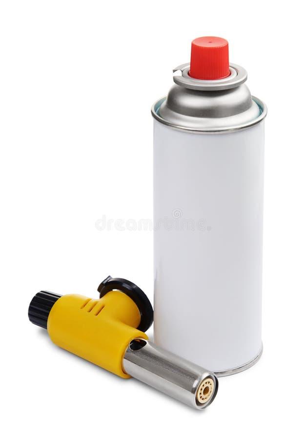 在白色的手工气体火炬燃烧器和气体喷壶 免版税库存照片