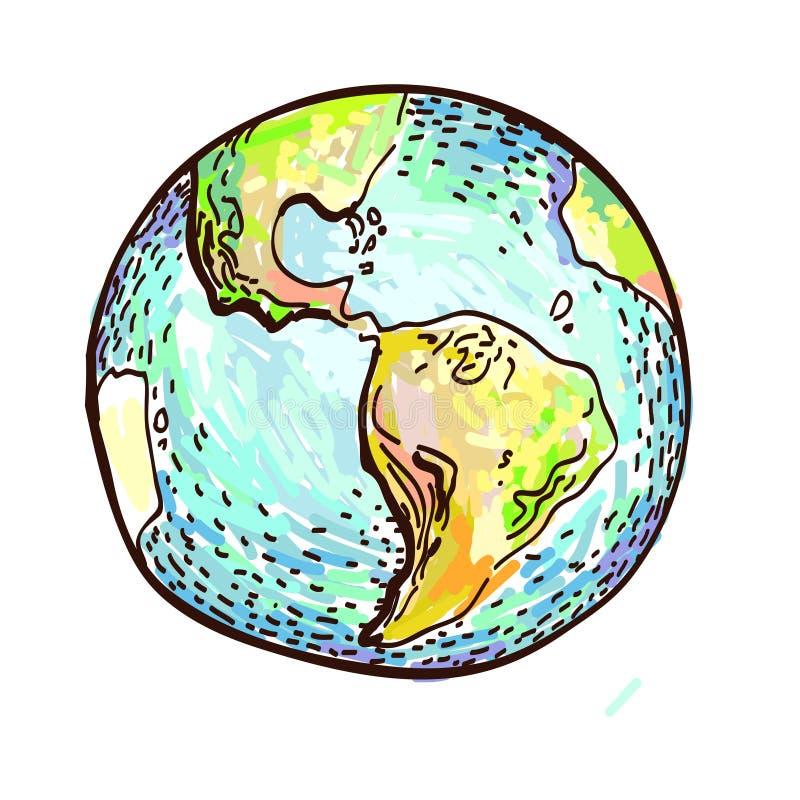 在白色的手拉的地球 库存例证