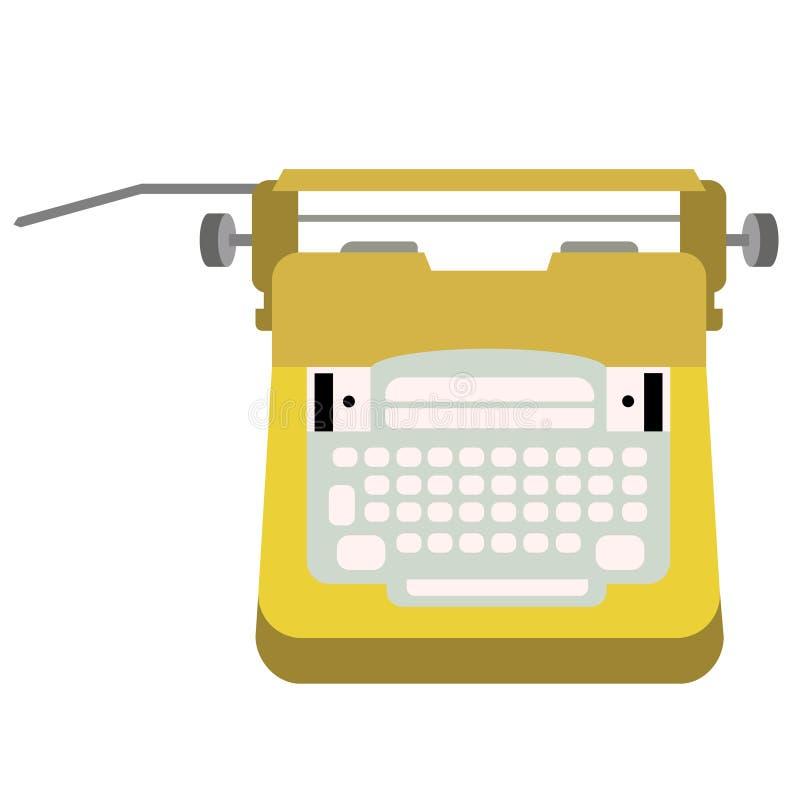 在白色的打字机平的例证 向量例证