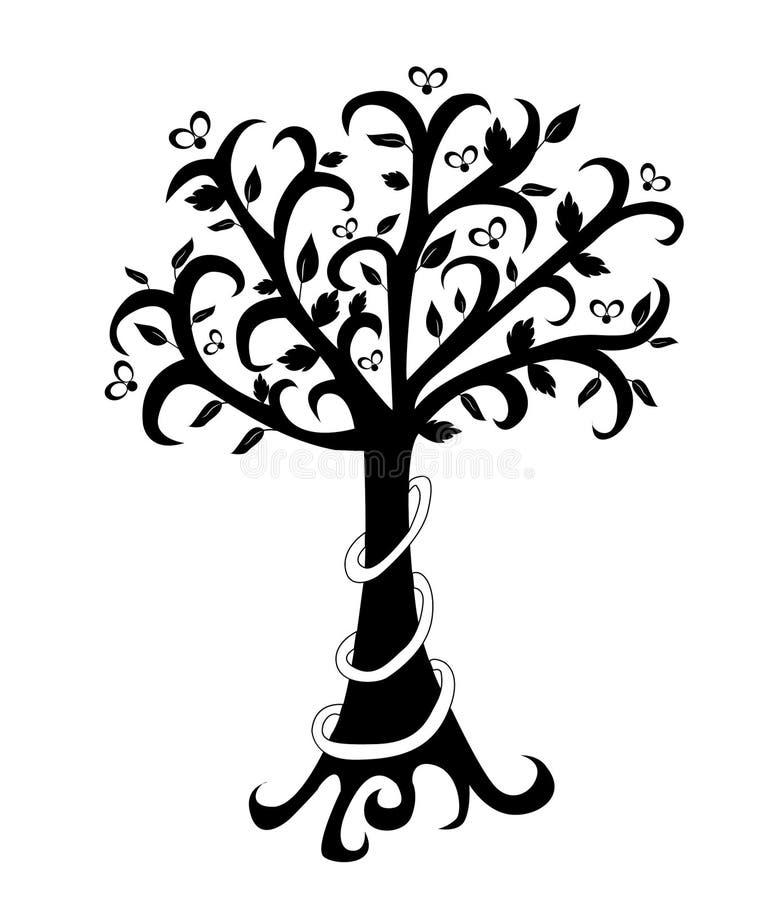 在白色的抽象春天树 库存例证