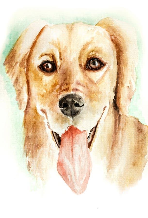 在白色的拉布拉多猎犬狗的水彩例证 皇族释放例证