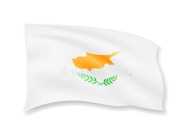 在白色的挥动的塞浦路斯旗子 在风的标志 皇族释放例证