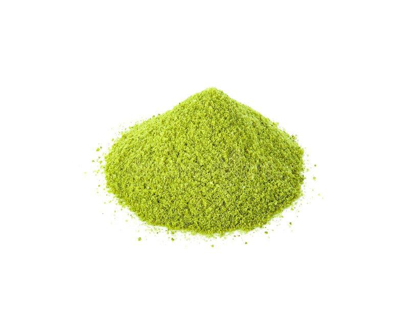在白色的搽粉的matcha绿茶 库存照片