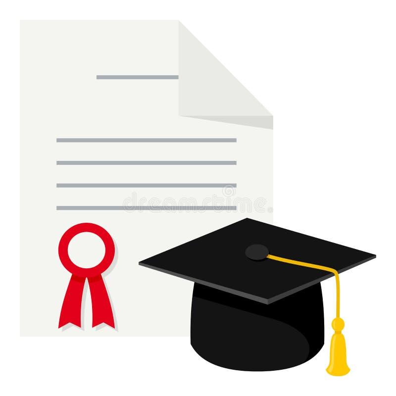 在白色的文凭&毕业帽子平的象 向量例证