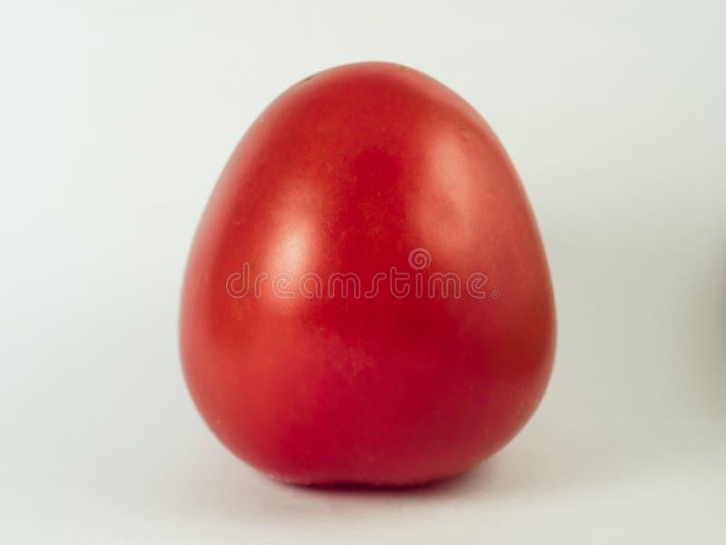 在白色的新鲜的红色蕃茄 免版税库存照片
