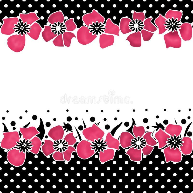 在白色的无缝的花卉样式与圆点 向量例证