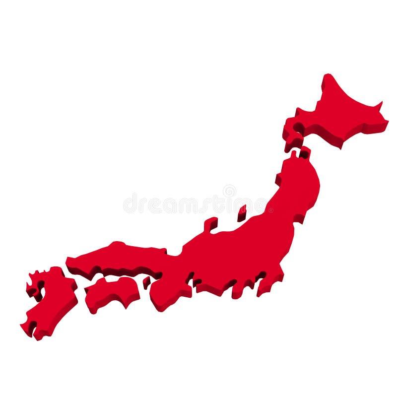 在白色的日本地图 库存例证