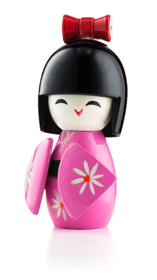 在白色的日本kokeshi玩偶 图库摄影