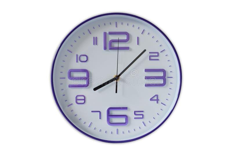 在白色的时钟 免版税库存照片