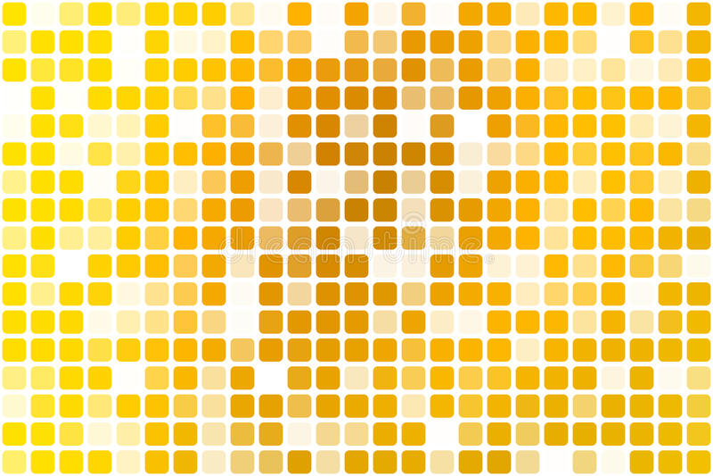 在白色的明亮的金黄黄色偶尔的不透明马赛克 库存例证