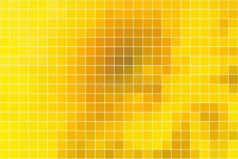 在白色的明亮的金黄黄色方形的马赛克背景 皇族释放例证