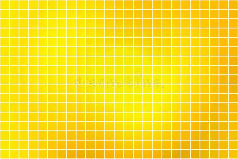 在白色的明亮的金黄黄色方形的马赛克背景 向量例证