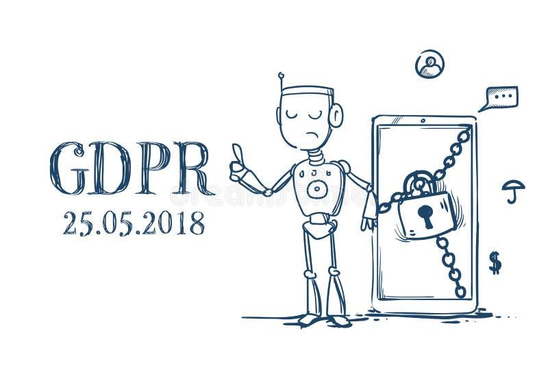 在白色的机器人举行挂锁安全人工智能一般数据保护章程GDPR服务器治安警卫 向量例证