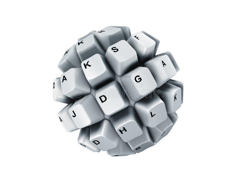 在白色的查出的键盘键 皇族释放例证