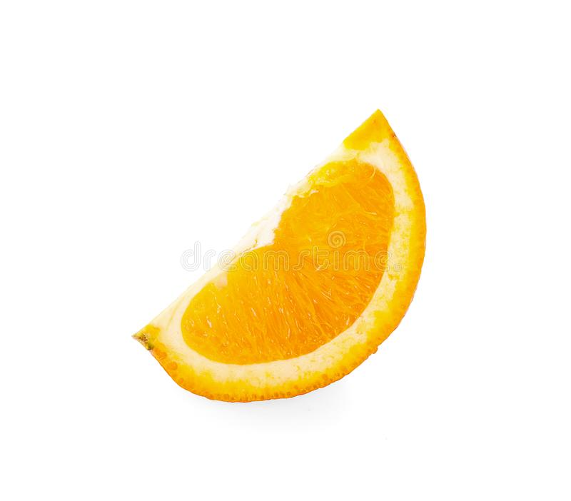 在白色的橙色果子切片孤立有与裁减路线的背景 库存照片