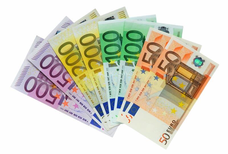 在白色的欧洲查出的货币 库存照片