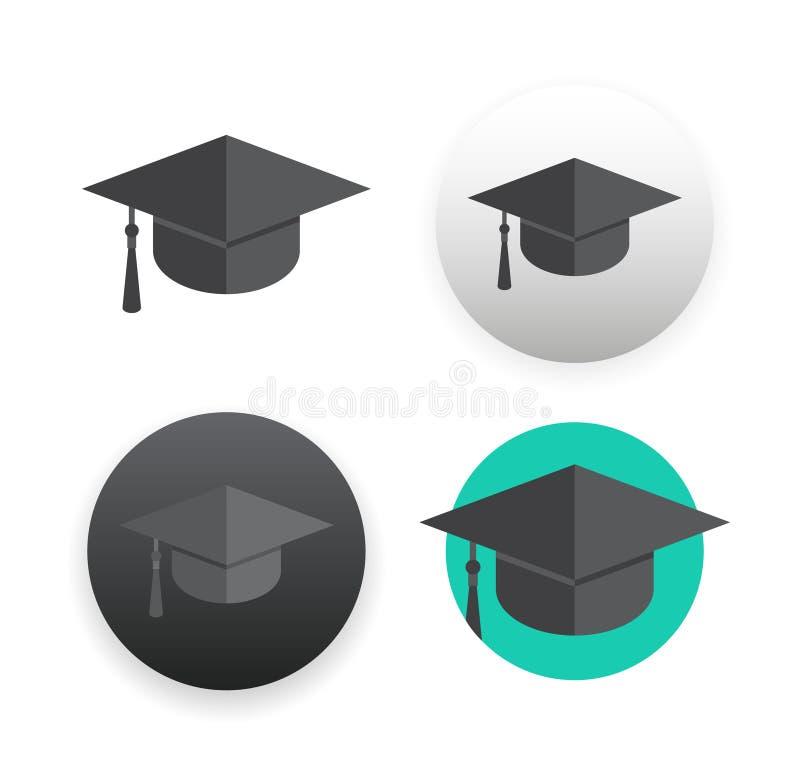 在白色的毕业盖帽 皇族释放例证