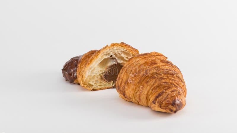 在白色的法国新月形面包 图库摄影