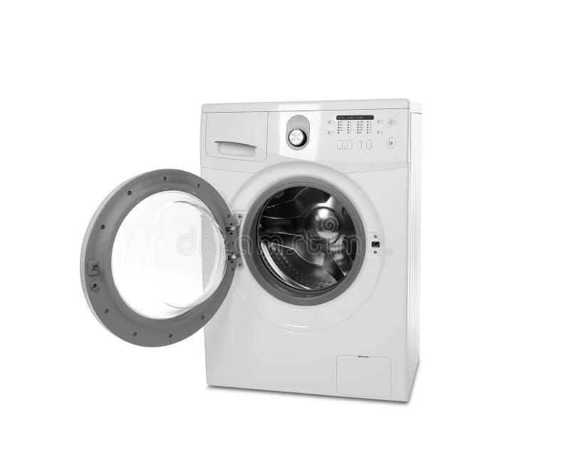 在白色的洗衣机 免版税库存图片