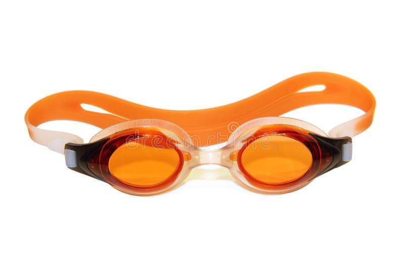 在白色的游泳风镜 免版税库存图片