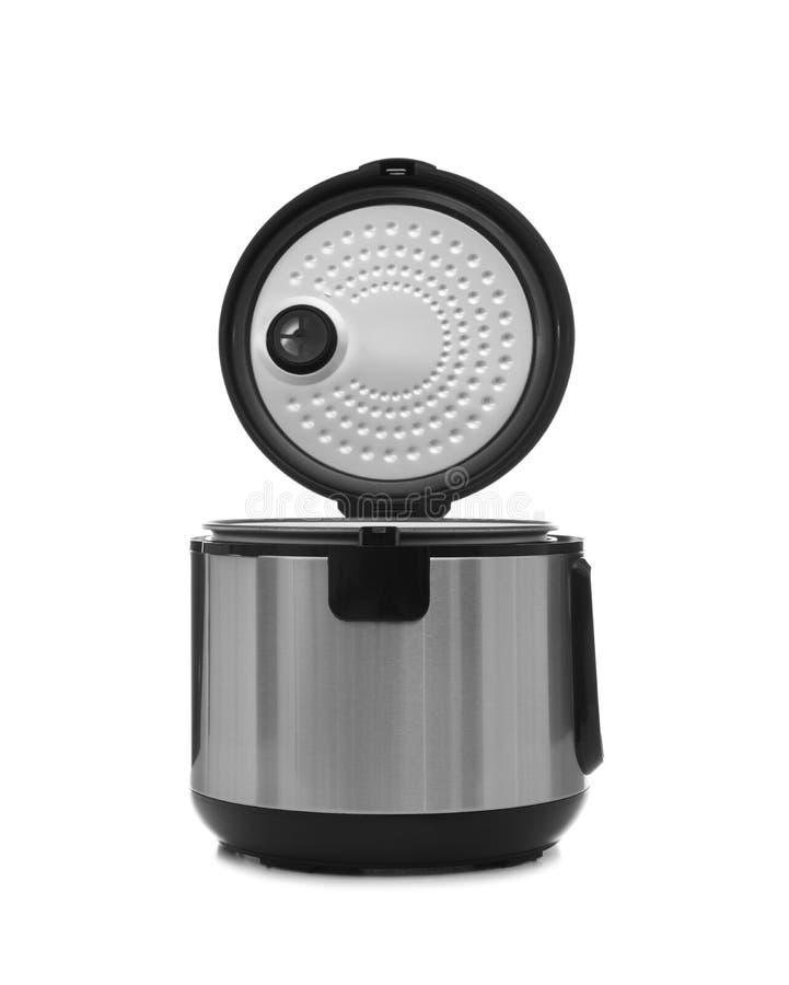在白色的现代电多烹饪器材 图库摄影