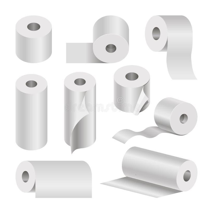 在白色的现实滚动的洗手间和毛巾纸海报 向量例证