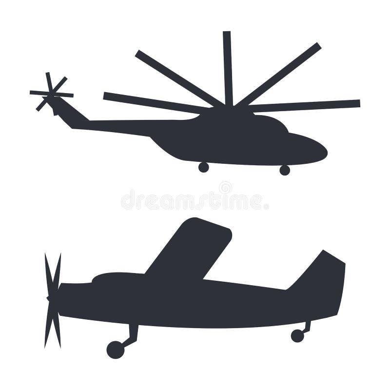 在白色的直升机和飞机黑剪影 皇族释放例证
